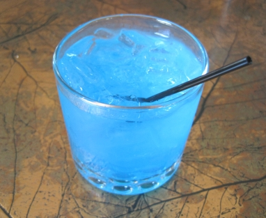 "Enjoyed a radioactive ""Tahoe Blue"" Cocktail"